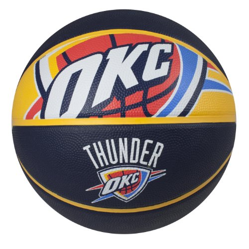 City Thunder Mini Basketball - Spalding NBA Oklahoma City Thunder Courtside Rubber Basketball