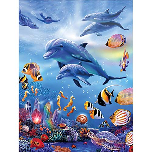 Leezeshaw 5D DIY Diamond Painting by Number Kits Fameless Rhinestone Embroidery Paintings Pictures for Home Decor - Seafloor (11.8x15.7inch/30x40cm)
