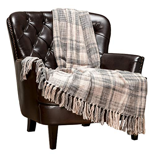 Chanasya Farmhouse Pattern Plaid Throw Blanket Lightweight Knit Textured Woven Decorative Blanket for Sofa Couch Bed Living Room Blanket with Tassels Fringed Throw Blanket (50x65 Inches) Gray Blue