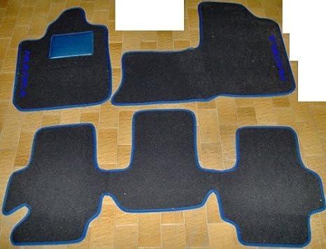 Tappeti per auto Neri con Bordo e Poggiatacco Blu Elettrico Tappetini in Moquette su Misura con Ricamo a Filo Blu Elettrico