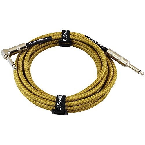 GLS Audio 15 Foot Guitar Instrument Cable – Right Angle 1/4-Inch TS to Straight 1/4-Inch TS 15 FT Brown Yellow Tweed Cloth Jacket – 15 Feet Pro Cord 15′ Phono 6.3mm – SINGLE