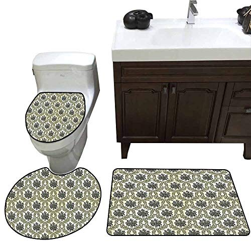 (3 Piece Bath mat Set Damask Decor Collection Vintage Floral Damask Brocade with Abstract Bouquet Greenery Pattern Artwork Print Printed Rug Set Green Beige)