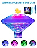 Floating Pool Lights Pond Lights Swimming Pool Lights or Baby Bath Tub Toys with Waterproof Colored LED Light for Pool Party Decorations,Underwater Light Show&Aquarium,Fountain,Baby Hot Tub(7 Modes)