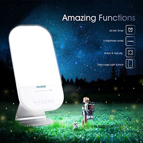 Light Therapy Lamp, Miroco LED Bright White Therapy Light - UV Free 10000 Lux, 6 Brightness Levels, Timer Function, Touch Control, Standing Bracket, Memory Function