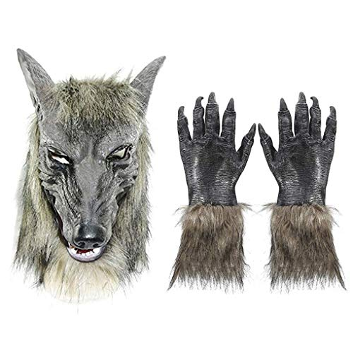 (Halloween Wolf Masks Latex Werewolf Mask Gloves Hands Adults Kids Scary Cosplay Horror Nights Party Masquerade Costume)