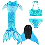 Stimmt Mermaid Tail Princess Sea-Maid Swimming Set Kids Bikini Swimsuit Set Swimwear for Girl Teens Kids Bathing Swimming 3-12 Years