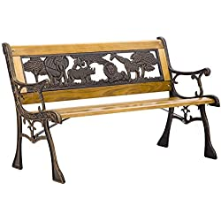 FDW Patio Garden Bench Park Porch Chair Cast Iron Hardwood Furniture Animals