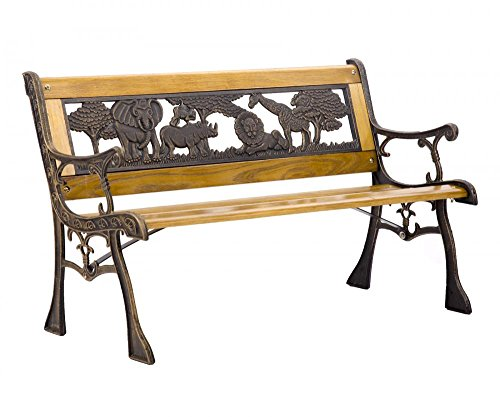 Wood Porch Furniture - FDW Patio Garden Bench Park Porch Chair Cast Iron Hardwood Furniture Animals