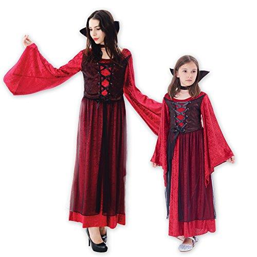 Halloween Girls' Vampire Princess Costume Dress, 2Pcs (dress, stand up collar) (Little Girl Vampire Costumes)
