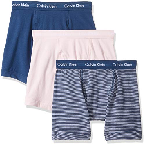 (Calvin Klein Men's Cotton Stretch Multipack Boxer Briefs, Parfait Pink Stripe/Airforce, S)