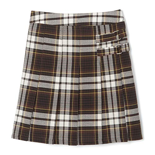 French Toast Big Girls' Pleated Scooter, Brown Plaid, 18