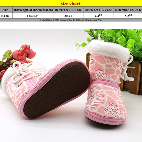 Zhhlinyuan Unisex Bebé Winter Warm Soft Toddler Boots Shoes Infant Gift One Size Pink
