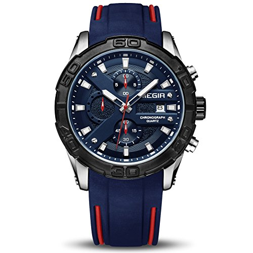 - MEGIR Men's Analogue Army Military Chronograph Luminous Quartz Watch with Stylish Blue Silicone Strap for Sport & Business Work MN2055GS-BKBE-2