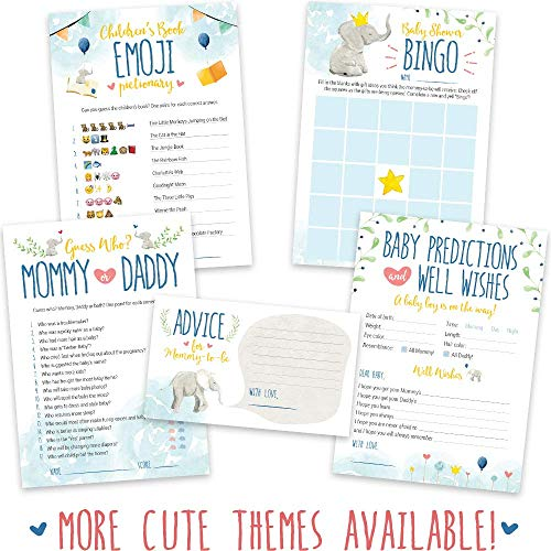 Baby Shower Games for Boys - Blue Elephant Theme - Pack of 5 Activities for 50 Guests, 5x7 Inch Cards - Baby Shower Decorations for Boys, Favors, Party Supplies -