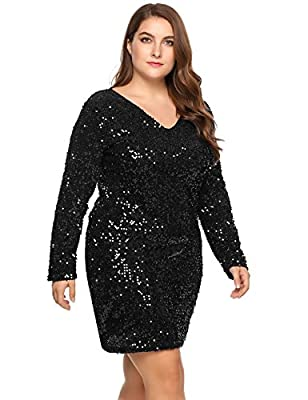 TelDen Women's V Neck Long Sleeve Mini Sequin Bodycon Dress Plus Size Cocktail Evening Party Dress 16-24W