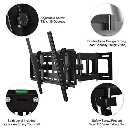 Tilt Full Motion Articulating TV Mount Bracket for LCD OLED QLED Plasma TV Screens 1080p Full 3D TVs max 600x400mm lbs HDMI Cable