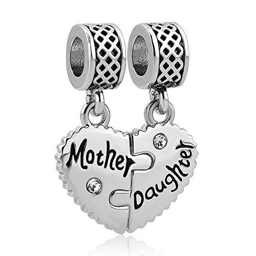 Daughter Heart Charm Set Dangle Bead Fits European Bracelets (Mother Daughter) ()