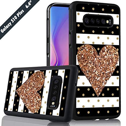 (White Black Stripes Golden Heart Phone Case Samsung Galaxy S10 Plus Cover Shockproof Anti-Skid Tired Tread Protective Case for Samsung Galaxy S10 Plus)
