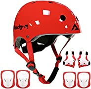 Lucky Kids Protective Gear Set Boys Girls Adjustable Size Helmet with Knee Pads Elbow Pads Wrist Guards for Sk