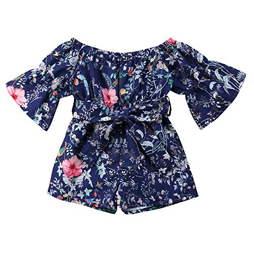 Child Toddler Kids Baby Girls Straps Off Shoulder Sunsuit Jumpsuit Bodysuit Outfit Summer Clothes (3-4 Years, Style 6)
