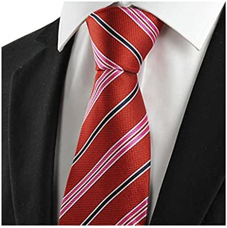 MENDENG Classic Striped Blue Grey Red Jacquard Woven Silk Men's Tie Necktie Knit