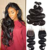 Peruvian Body Wave Bundles with Closure 9A Virgin Hair 3 Bundles with Closure Free Part Peruvian Human Hair Extensions with Lace Closure Natural Color Mix Length (14'' 16'' 18''+12'')