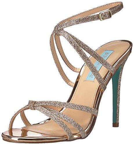 (Blue by Betsey Johnson Women's SB-MYLA Heeled Sandal, Champagne Glitter, 7.5 M)