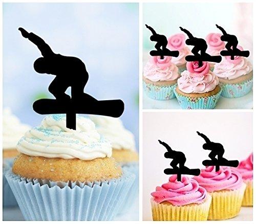 TA0285 Snowboard Snowboarding Silhouette Party Wedding Birthday Acrylic Cupcake Toppers Decor 10 pcs