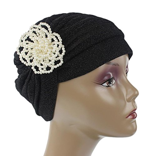 WOCACHI Hats And Caps Stretch Pearl Floral Turban Hat Head Scarf Wrap (Umbrella Hats For Sale)