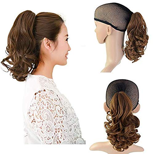 (Beauty Angelbella Medium Long Curly Ponytail Claw Clip On Hair Extensions Synthetic Fiber Hairpiecefor Black Women (2-30#))