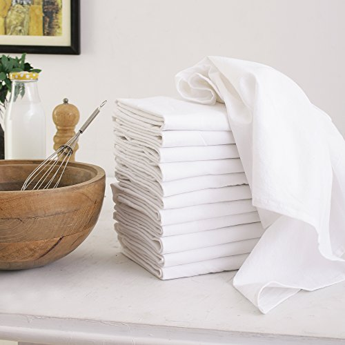 Flour Sack Dish Towels, Set of 12 (27 x 27 Inches), Multi-use White Kitchen Towels, 100% Cotton, Highly Absorbent, Tea towels for Embroidery (Best Dry Iron Box In India)