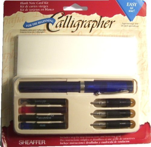 Sheaffer-Viewpoint-Calligraphy-Pen-Kit-Set-with-3-Nibs-Fine-Medium-and-Broad-Instructions-Ink-Cartridges-in-4-Colors-and-6-Cards-with-Envelopes-by-Sheaffer