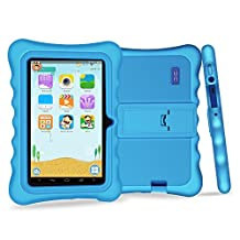"YUNTAB Q88H Kids Edition Tablet, 7"" Display, 8 GB, WiFi, Bluetooth, Kids Software Pre-Installed, Premium Parent Control, Educational Game Apps, Protecting Silicone Case, Blue"
