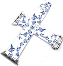 Iwatch Bands 42mm,Apple Watch Band Genuine Prime Elegant Leather Replacement For All iWatch With Silver Metal Adapter - blue flowers and little bird