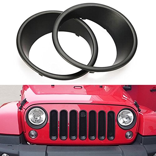 Jeep Headlight Bezel - MOEBULB Matte Black Headlight Bezels Cover Guard for 2007-2017 Jeep Wrangler JK & Unlimited - 1 Pair