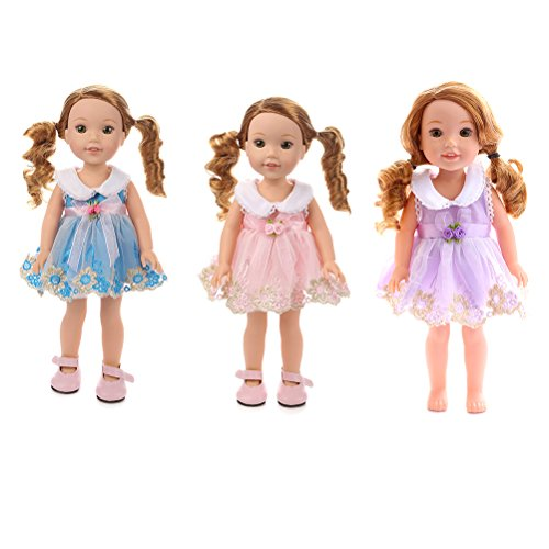 uhoMEy Fancy Lace Dress for American Girl Doll Princess Dress Outfits Accessories Set for 14' Doll Fashion Casual Baby Girl Dresses Collection Mix Colors -