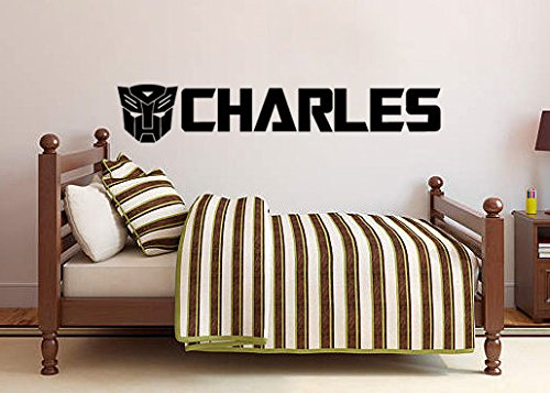 Transformers Inspired Customizable Name Vinyl Wall Decal - Black Transformer Name