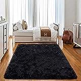 JOYFEEL Soft Bedroom Rugs - 4'x6' Black Modern