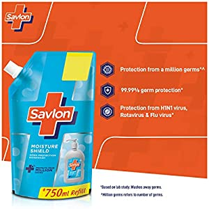 Savlon Moisture Shield Germ Protection Liquid Handwash Refill Pouch, 750ml