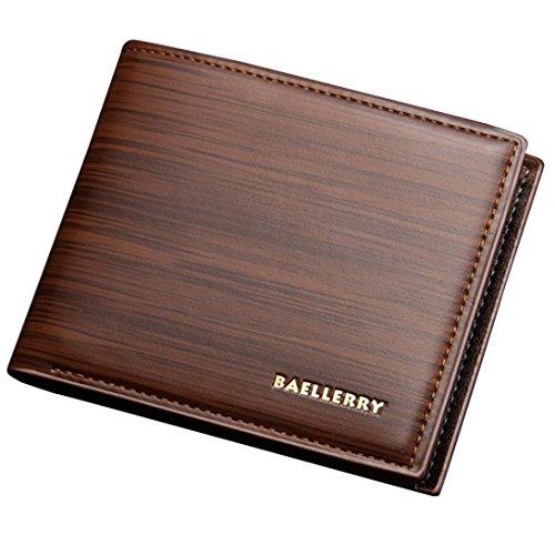 Price comparison product image GBSELL Mens Fashion Leather ID Card Holder Billfold Purse Wallet (Coffee)