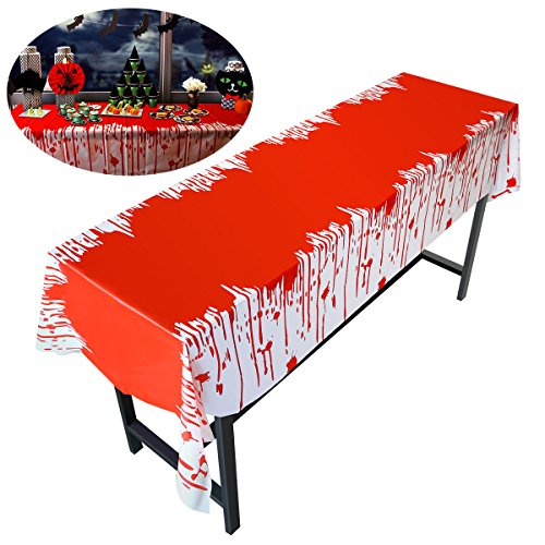 PBPBOX Halloween Blood Table Cover for Halloween Zombie Party Decorations 54 X 108 Inch Halloween (Dead Things To Be For Halloween)
