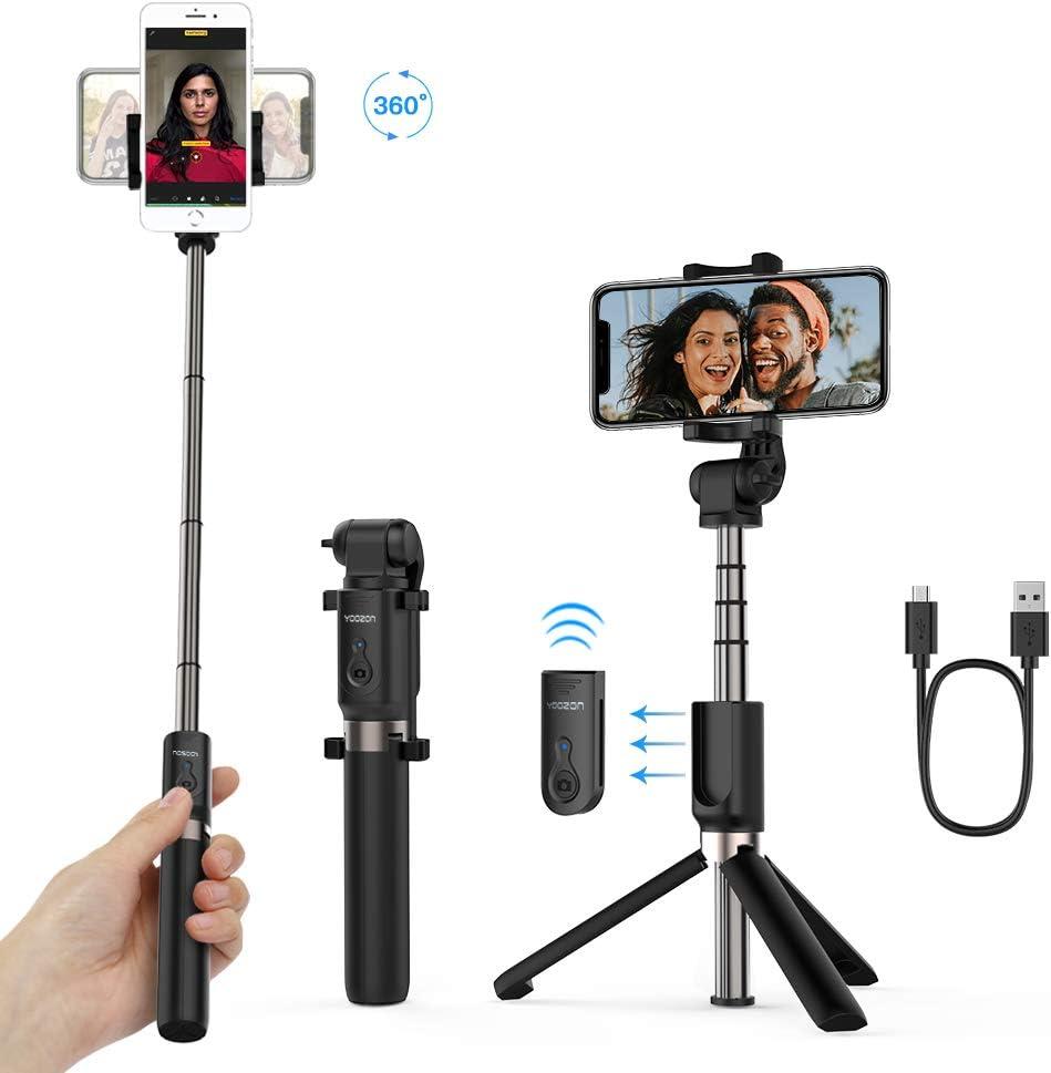 Yoozon Palo Selfie Trípode Bluetooth,Mini Selfie Stick Bolsillo para Autofoto.Extensible de Control Remoto Monopié inalámbrico 3 en 1.Rotación 360 Grados para teléfonos Inteligentes iPhone y Andriod
