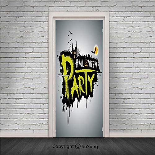 Halloween Door Wall Mural Wallpaper Stickers,Halloween Party Hand Drawn Brushstrokes Artistic Design Grunge Cartoon,Vinyl Removable 3D Decals 30.4x78.7/2 Pieces set,for Home Decor Yellow White Black -
