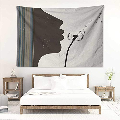 Modern,Wall Decor Tapestry Silhouette of a Woman Girl Portrait and Dandelion Flower by Vertical Color Stripes 72W x 54L Inch Tapestry Wallpaper Home Decor Multicolor ()