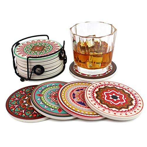 Summit One Absorbent Ceramic Stone Coasters with Cork Backing, Set of 6 (4 Inch) - Stone Coasters Set for Drinks with Beautiful Unique Mandala Designs - Includes Black Iron Coaster Holder (Coaster Unique Sets Drink)