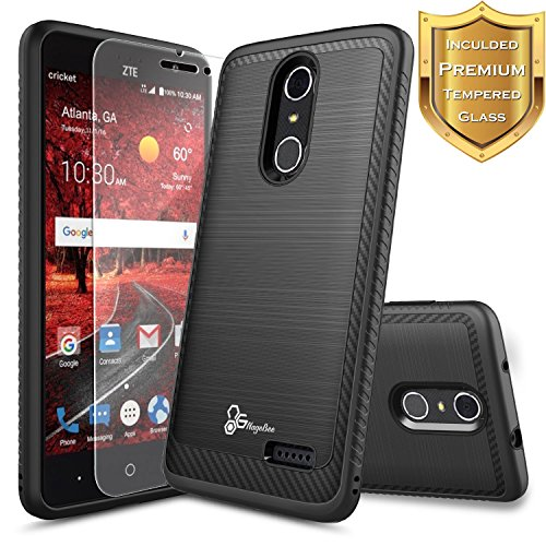 NageBee [Carbon Fiber Brushed Metal] Heavy Duty Defender [Dual Layer] Case Compatible with ZTE Blade Spark (Z971) / ZMax One (Z719DL) / Grand X4 (Z956) w/[Tempered Glass Screen Protector] -Black