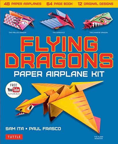 Flying Dragons Paper Airplane Kit: 48 Paper Airplanes, 64 Page Instruction Book, 12 Original Designs, YouTube Video Tutorials Dart Paper Airplane