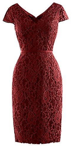 Dress of Women Wedding Cap Lace Vintage Burgunderrot Sleeve MACloth Mother Bride Party Short RZ6wznqx0