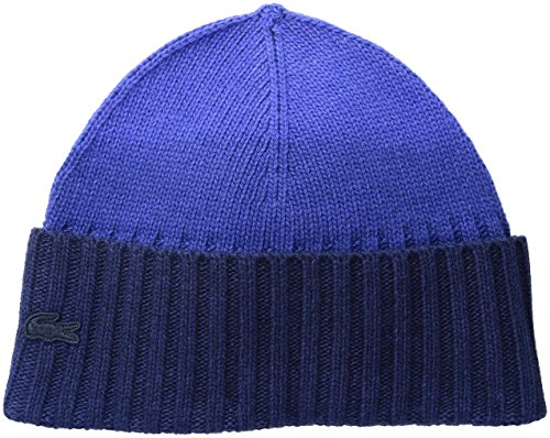 Lacoste Women's Dip Dyed Wool Jersey Beanie, Steamer/Cosmos, One - Beanie Lacoste Hats