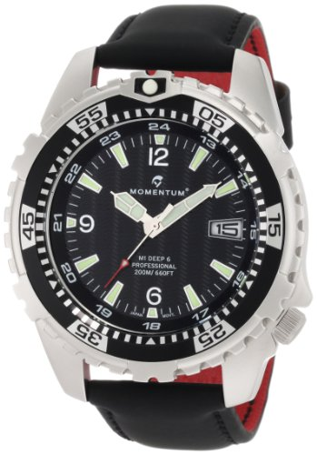 Momentum Black Leather - Momentum Men's 1M-DV06B12B M1 Deep 6 Black Dial Black Touch Leather Watch